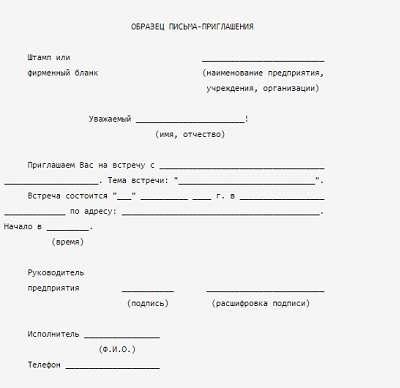 Шаблон письма приглашения