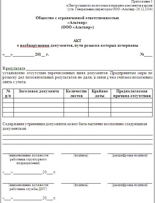 Инструкция по подготовке и передаче документов в архив